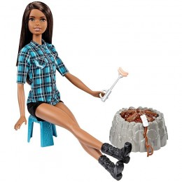 Barbie FDB45 Lalka na biwaku - brunetka