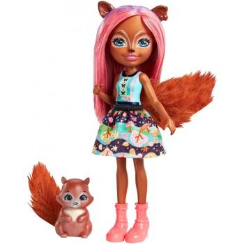 Enchantimals FMT61 Lalka Sancha Squirrel i wiewiórka Stumper