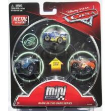 Cars Mini Racers - Zestaw trzech mini autek - Świecące w ciemności FPT73