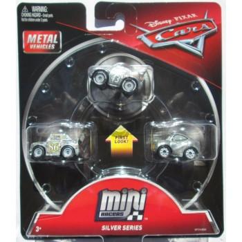 Cars Mini Racers - Zestaw trzech mini autek - Srebrne FPT74