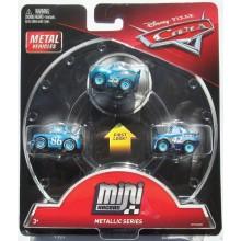 Cars Mini Racers - Zestaw trzech mini autek - Metaliczne Niebieskie FPT79