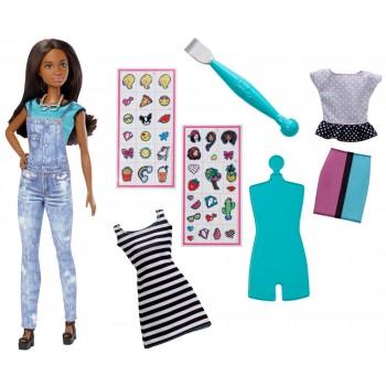 Barbie D.I.Y. Zrób to sama Modne naklejki + lalka brunetka DYN94