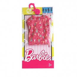 Barbie Modne sukienki Różowa w trójkaty DWG12