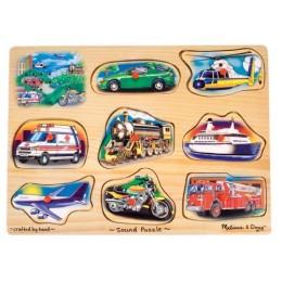Melissa & Doug 10267 Klasyczne Puzzle Dźwiękowe Pojazdy