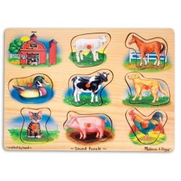 Melissa & Doug 10268 Klasyczne Puzzle Dźwiękowe Farma