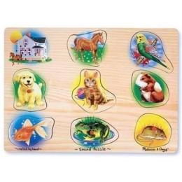 Melissa & Doug 10342 Klasyczne Puzzle Dźwiękowe Zwierzęta