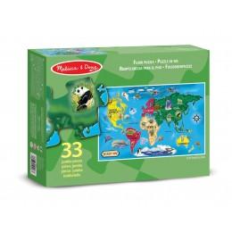 Melissa & Doug 10446 Puzzle podłogowe Mapa Świata - 33 elementy