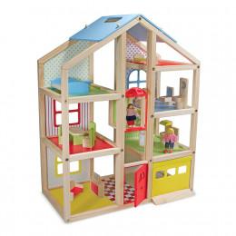 Melissa & Doug - Drewniany domek dla lalek z windą i meblami - 12462