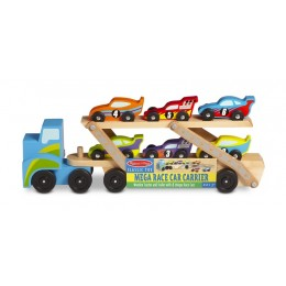 Melissa & Doug 12759 Duża drewniana laweta z wyścigówkami