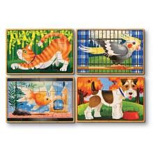 Melissa & Doug Puzzle Drewniane Zwierzęta 4 wzory 13790