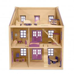 Melissa & Doug - Drewniany domek dla lalek z wyposażeniem - 14750