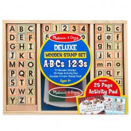 Melissa & Doug - Zestaw drewnianych pieczątek - Alfabet i cyfry 40118