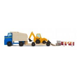Melissa & Doug 12757 Zestaw pojazdów drewnianych - koparka i ciężarówka - wywrotka