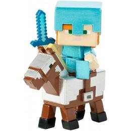 Minecraft - Alex na koniu w zbroi - Figurka FVH08 FVH10