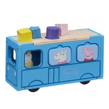Świnka Peppa – Drewniany autobus-sorter + figurka Pani Królik – 07222