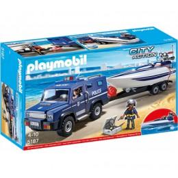 Playmobil 5187 Klocki City Action Pojazd Terenowy Policji z Motorówką