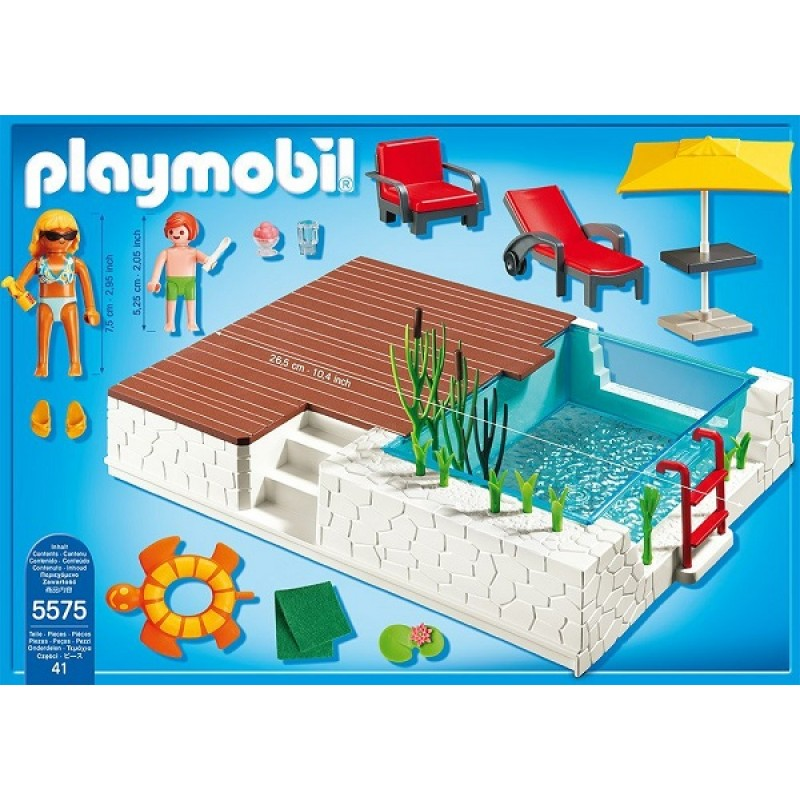 Playmobil klocki city life 5575 taras z basenem sklep for Piscine maison moderne playmobil