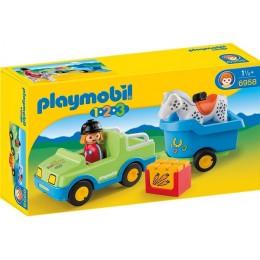Playmobil Klocki 1-2-3 6958 Samochód z przyczepą dla konia