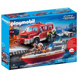 Klocki Playmobil CIty Action 70054 Samochód strażacki z łodzią