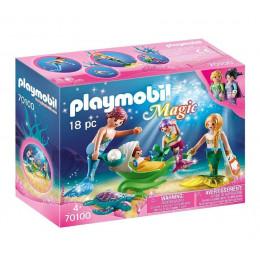 Playmobil Magic 70100 - Rodzina syrenek z wózkiem z muszli