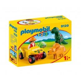 Playmobil 1-2-3 9120 Badacz dinozaurów z quadem