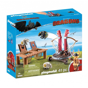 Playmobil 9461 Dragons Jak wytresować smoka - Pyskacz Gbur z katapultą owiec