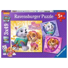 Ravensburger - Puzzle 3x49 elementów - Psi Patrol - Skye i Everest - 080083