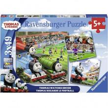 Ravensburger - Puzzle 3x49 elementów - Tomek i Przyjaciele - Mecz - 080373