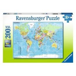 Ravensburger – Puzzle XXL 200 elementów – Mapa Świata – 12890