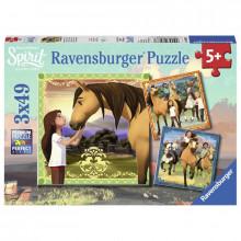 Ravensburger - Puzzle 3x49el - Mustang z Dzikiej Doliny  - 080687