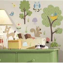 RoomMates Naklejki na Ścianę Wielokrotnego Użytku 1398 - Leśne Zwierzęta