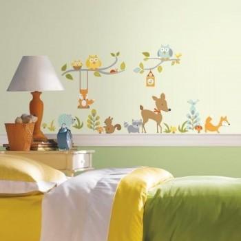 RoomMates Naklejki na Ścianę Wielokrotnego Użytku 2768 - Leśne Zwierzęta 2
