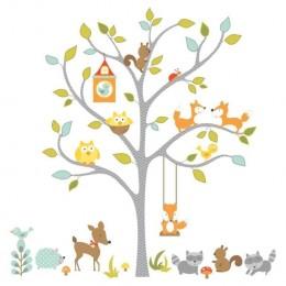 RoomMates Naklejki na Ścianę Wielokrotnego Użytku 2729 - Leśne Drzewo