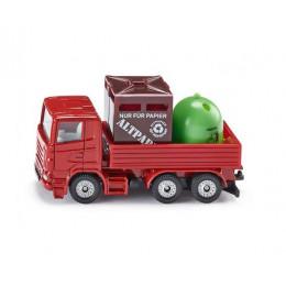 SIKU - Ciężarówka z pojemnikami na odpady 8 cm - 0828
