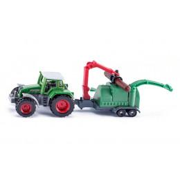 SIKU - Traktor z rębakiem do drewna - 1675