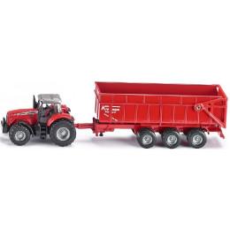 SIKU Farmer 1844 Traktor z przyczepą Massey Ferguson 1:87