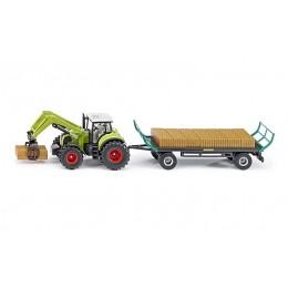 SIKU Farmer – Traktor z chwytakiem bel i przyczepą – 1946