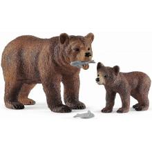 Schleich - Wild Life - Matka Grizzly z małym niedźwiadkiem 42473