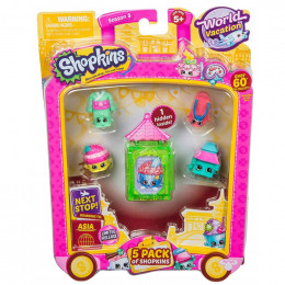 Shopkins Seria 8 HPKA4000 World Vacation - Zestaw pięciu figurek AZJA - zielony