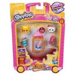 Shopkins Seria 8 HPKA4000 World Vacation - Zestaw pięciu figurek AZJA