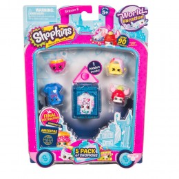 Shopkins Seria 8 HPKA5000 World Vacation - Zestaw pięciu figurek AMERYKA