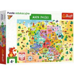 Trefl – Puzzle edukacyjne – Mapa Polski – 54 elementy – 15556