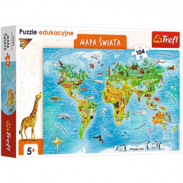 Trefl – Puzzle edukacyjne – Mapa świata – 104 elementy – 15557