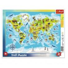 Trefl – Puzzle ramkowe 25 elementów – Mapa świata – 31340