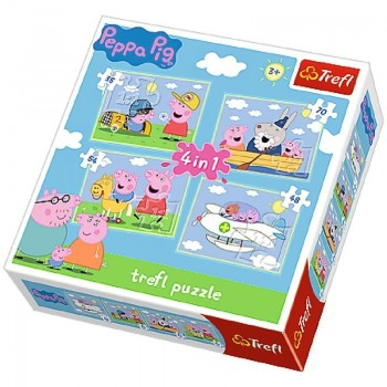 Trefl - Puzzle Świnka Peppa 4 w 1 - Podróże Peppy - 34246