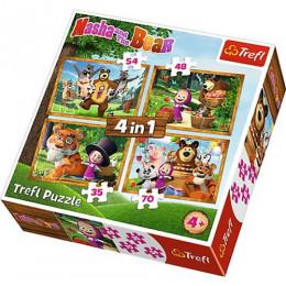 Trefl - Puzzle 4w1 - Leśne przygody Maszy - Masza i niedźwiedź 34329