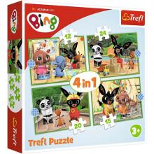 Trefl – Puzzle Bing i przyjaciele – Wesoły dzień Binga – 4w1 – 34357