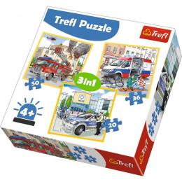 Trefl - Puzzle 3w1 - Pojazdy interwencyjne - 34836