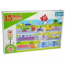 Trefl - Puzzle Maxi Baby 15 el. - Pojazdy miejskie - 14279