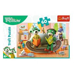 Trefl - Puzzle 60 el. Rodzina Treflików - Wspólne czytanie książek - 17345
